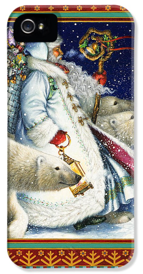 Santa Claus IPhone 5 / 5s Case featuring the painting Polar Magic by Lynn Bywaters