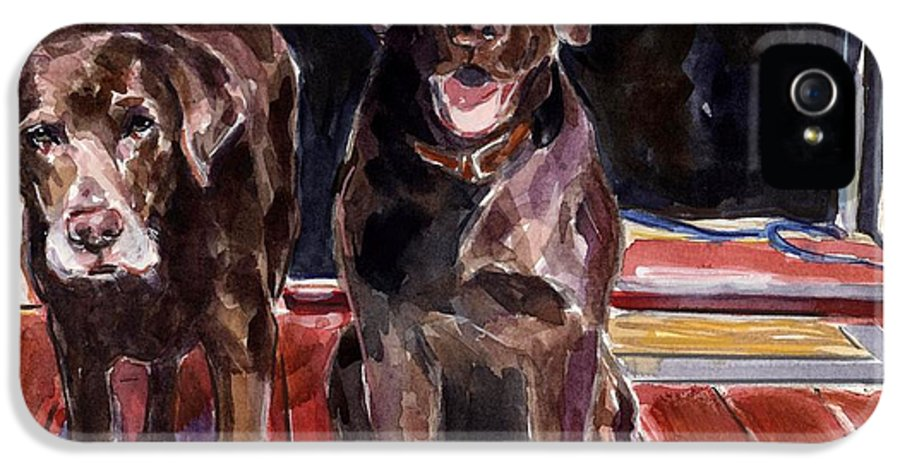 Chocolate Labs IPhone 5 / 5s Case featuring the painting Porch Light by Molly Poole