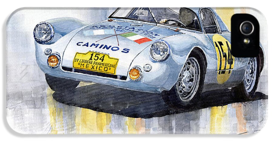 Watercolor IPhone 5 / 5s Case featuring the painting Porsche 550 Coupe 154 Carrera Panamericana 1953 by Yuriy Shevchuk