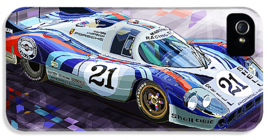 Automotive IPhone 5 / 5s Case featuring the digital art Porsche 917 Lh Larrousse Elford 24 Le Mans 1971 by Yuriy Shevchuk
