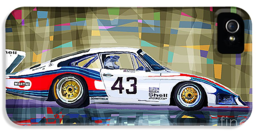 Automotive IPhone 5 / 5s Case featuring the drawing Porsche 935 Coupe Moby Dick by Yuriy Shevchuk