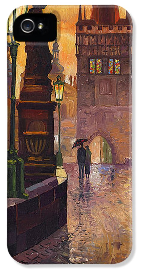 Prague IPhone 5 / 5s Case featuring the painting Prague Charles Bridge 01 by Yuriy Shevchuk