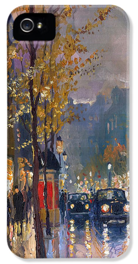 Prague IPhone 5 / 5s Case featuring the painting Prague Old Vaclavske Square 01 by Yuriy Shevchuk