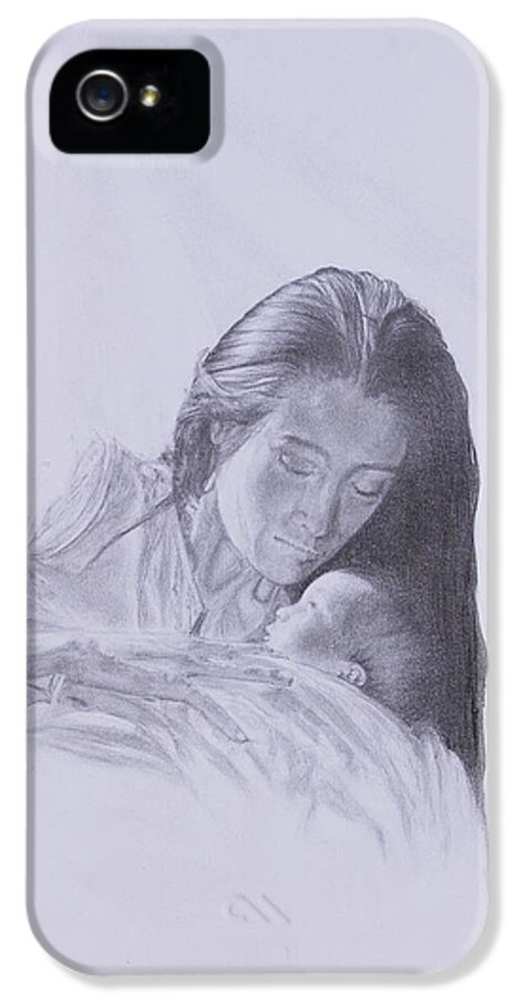 Mary And The Christ Child IPhone 5 / 5s Case featuring the drawing Precious Gift From The Life Of Jesus Series by Susan Harris