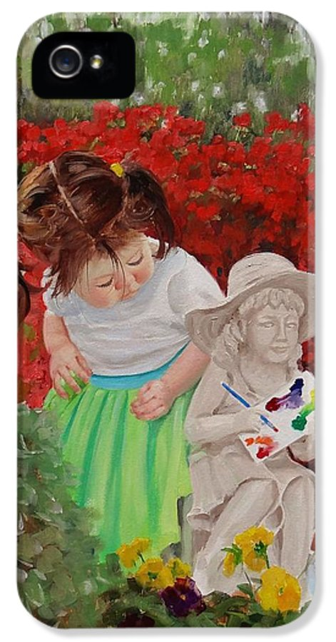 Little Girl IPhone 5 / 5s Case featuring the painting Precious Memories Two by Laura Lee Zanghetti