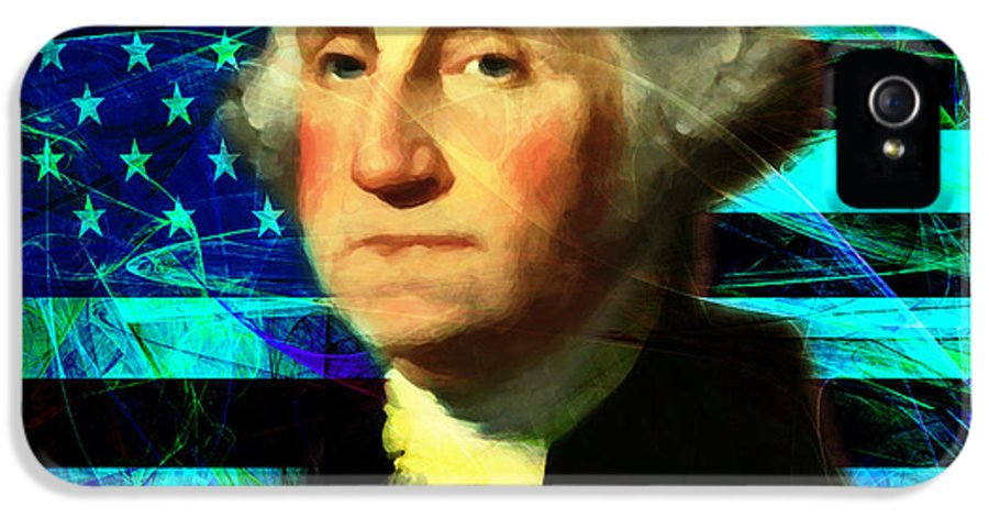 Celebrity IPhone 5 / 5s Case featuring the photograph President George Washington V2 P138 Square by Wingsdomain Art and Photography