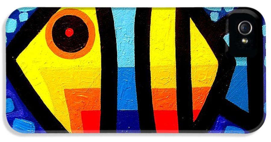 Abstract IPhone 5 / 5s Case featuring the painting Psychedelic Fish by John Nolan