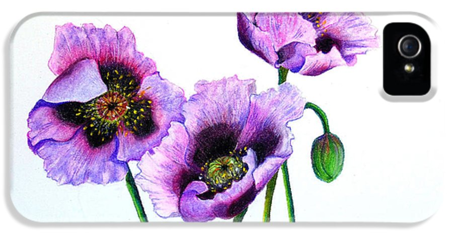 Poppies IPhone 5 / 5s Case featuring the pastel Purple Oriental Poppies by Karin Dawn Kelshall- Best