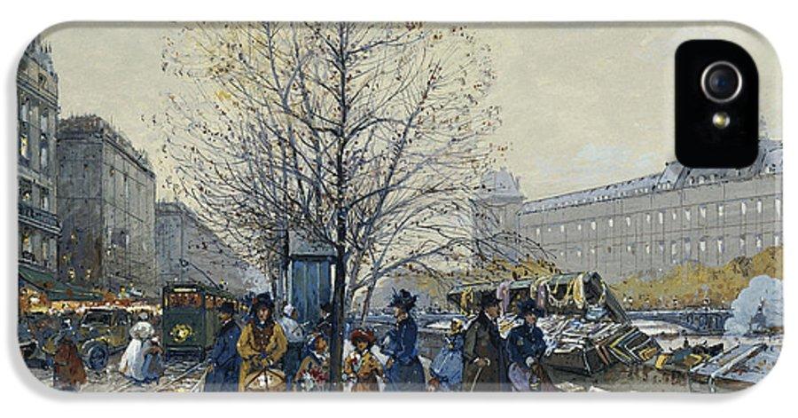 19th Century IPhone 5 / 5s Case featuring the painting Quai Malaquais Paris by Eugene Galien-Laloue