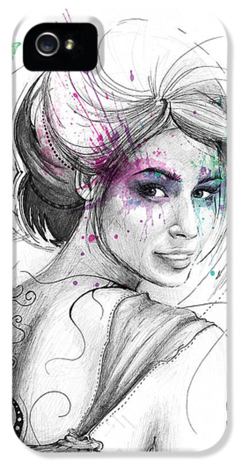Butterflies IPhone 5 / 5s Case featuring the drawing Queen Of Butterflies by Olga Shvartsur
