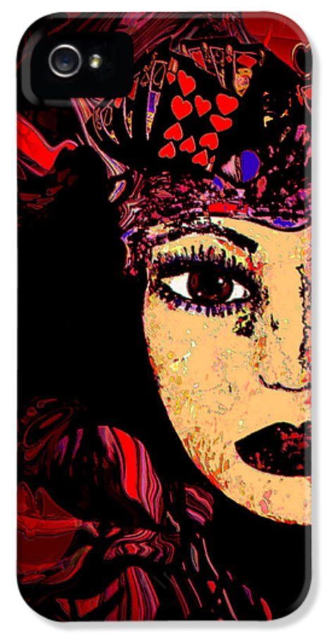 Face IPhone 5 / 5s Case featuring the mixed media Queen Of Hearts by Natalie Holland