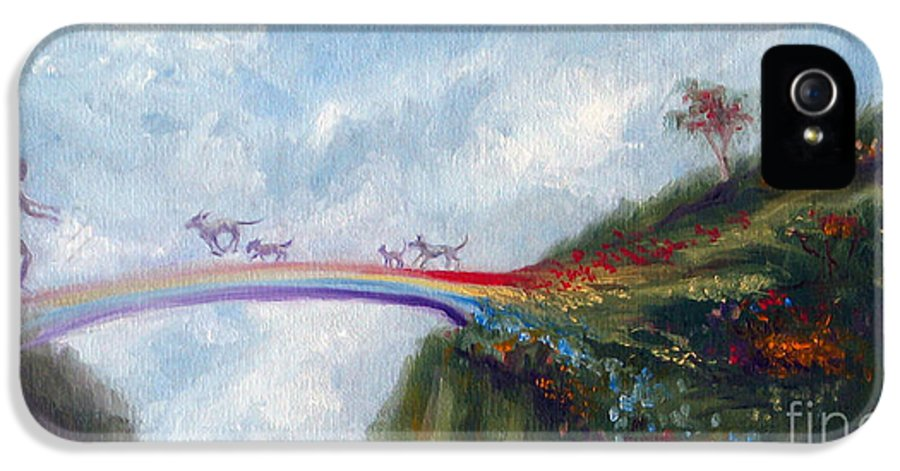 Dog IPhone 5 / 5s Case featuring the painting Rainbow Bridge by Stella Violano