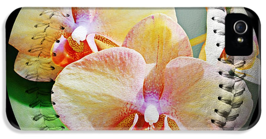 Baseball IPhone 5 / 5s Case featuring the photograph Rainbow Orchids Baseball Square by Andee Design