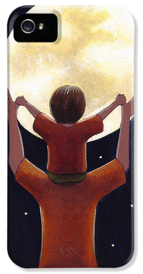 Child IPhone 5 / 5s Case featuring the painting Reach The Moon by Christy Beckwith