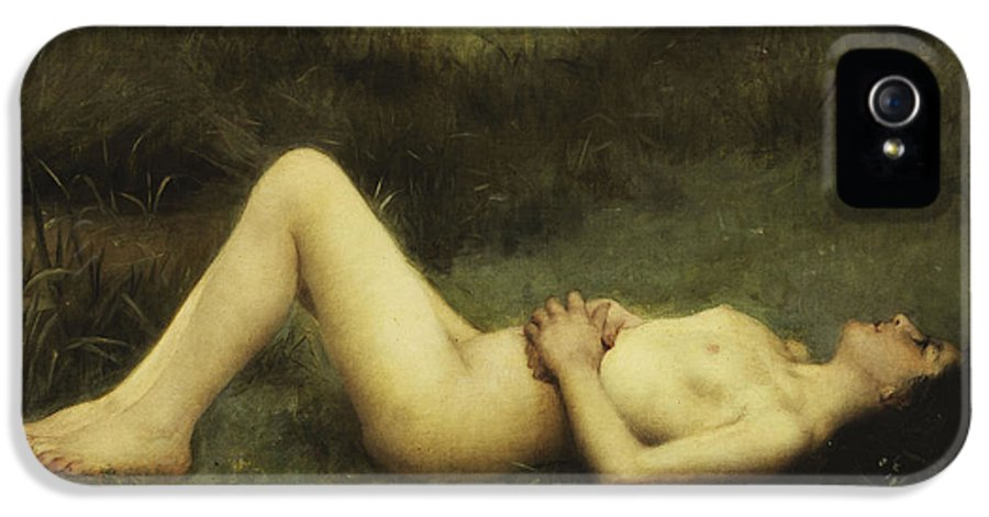 19th Century IPhone 5 / 5s Case featuring the painting Reclining Nude by Louis Courtat