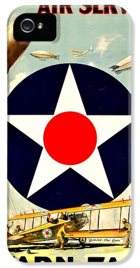 Army IPhone 5 / 5s Case featuring the photograph Recruiting Poster - Ww1 - Air Service by Benjamin Yeager