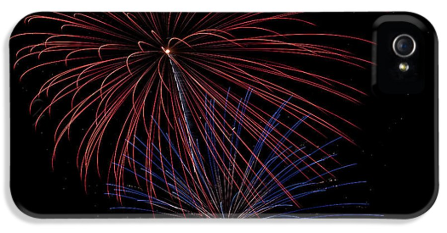 Fireworks IPhone 5 / 5s Case featuring the photograph Red Blue Fireworks by Jason Meyer