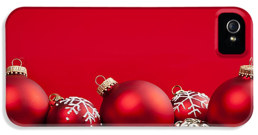 Christmas IPhone 5 / 5s Case featuring the photograph Red Christmas Baubles And Decorations by Elena Elisseeva