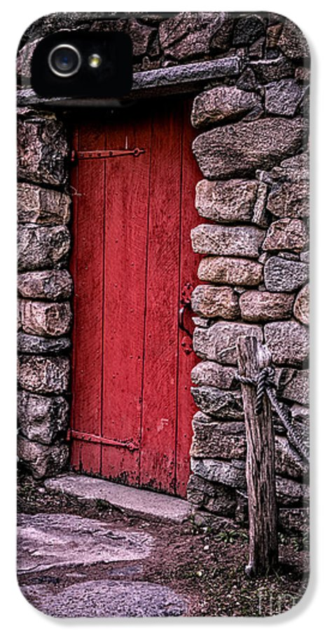 Door IPhone 5 / 5s Case featuring the photograph Red Grist Mill Door by Edward Fielding