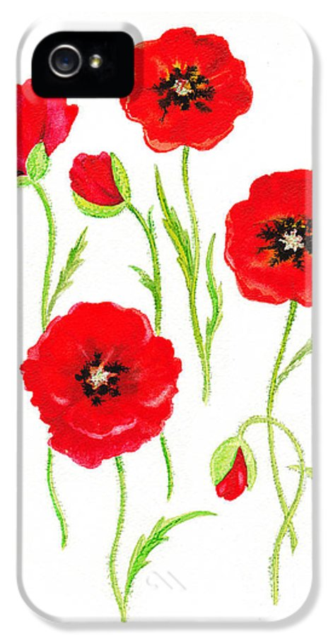 Poppies IPhone 5 / 5s Case featuring the painting Red Poppies by Irina Sztukowski