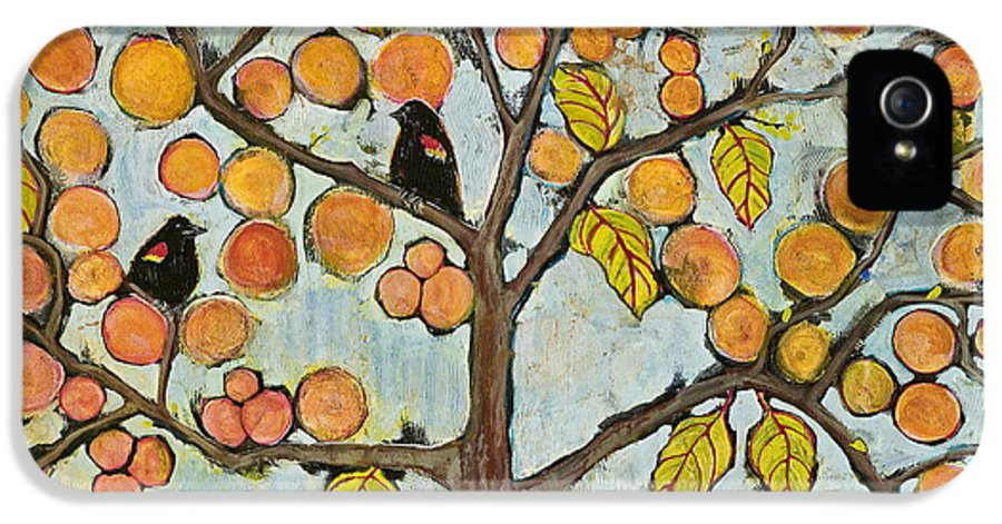 Fantasy IPhone 5 / 5s Case featuring the painting Red Winged Black Birds In A Tree by Blenda Studio