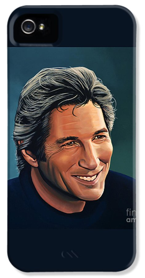Richard Gere IPhone 5 / 5s Case featuring the painting Richard Gere by Paul Meijering