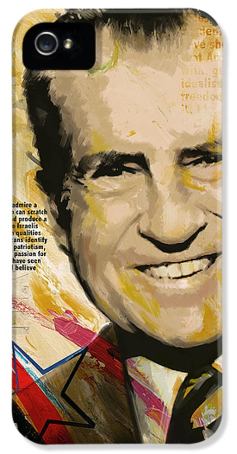Richard Nixon IPhone 5 / 5s Case featuring the painting Richard Nixon by Corporate Art Task Force