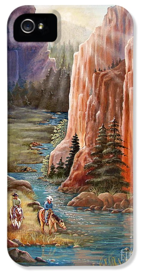 Western IPhone 5 / 5s Case featuring the painting Rim Canyon Ride by Marilyn Smith
