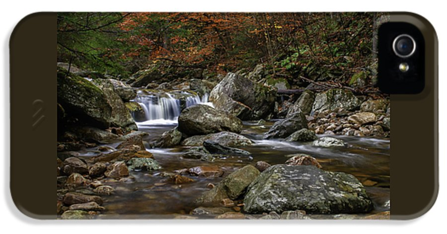 Roaring Brook IPhone 5 / 5s Case featuring the photograph Roaring Brook - Sunderland Vermont Autumn Scene by Thomas Schoeller