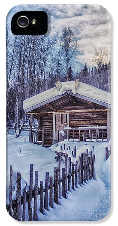 Robert Service IPhone 5 / 5s Case featuring the photograph Robert Service Cabin Winter Idyll by Priska Wettstein