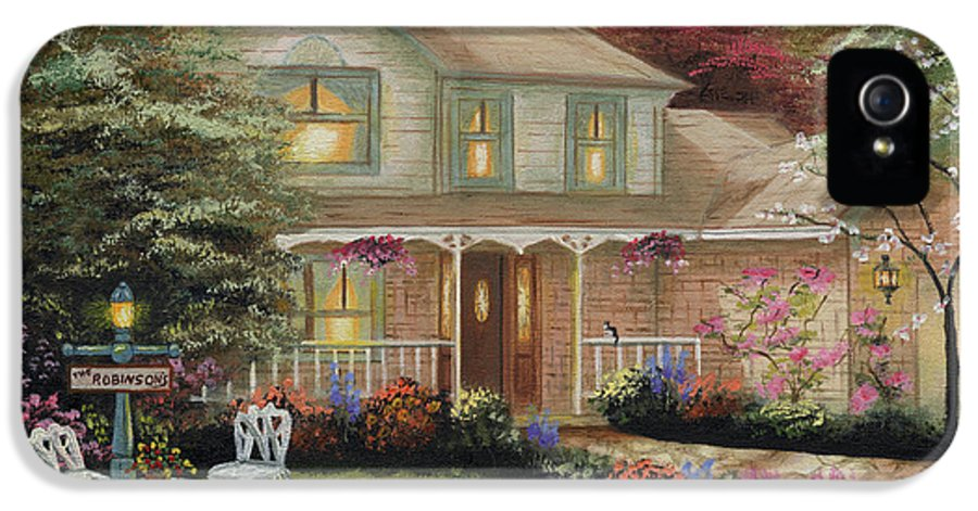 Oil Canvas Original Painting In The Manner Of Thomas Kinkade Home Portrait IPhone 5 / 5s Case featuring the painting Robinson House by Cecilia Brendel
