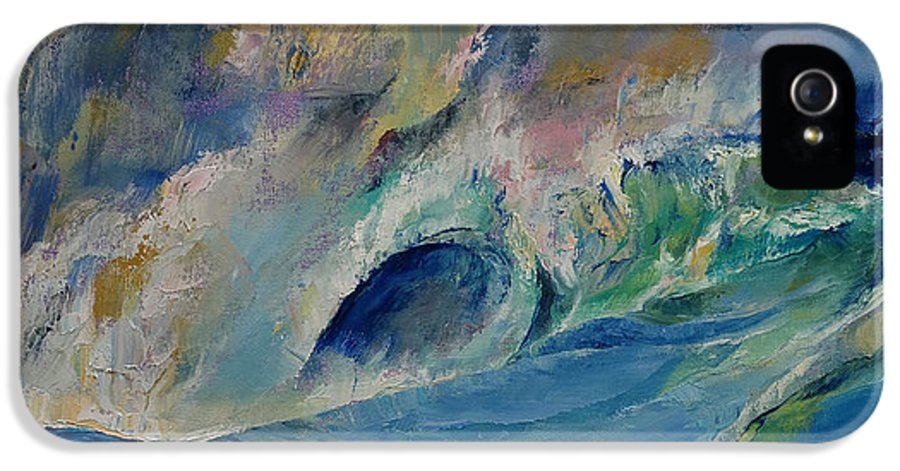 Abstract IPhone 5 / 5s Case featuring the painting Rogue Wave by Michael Creese