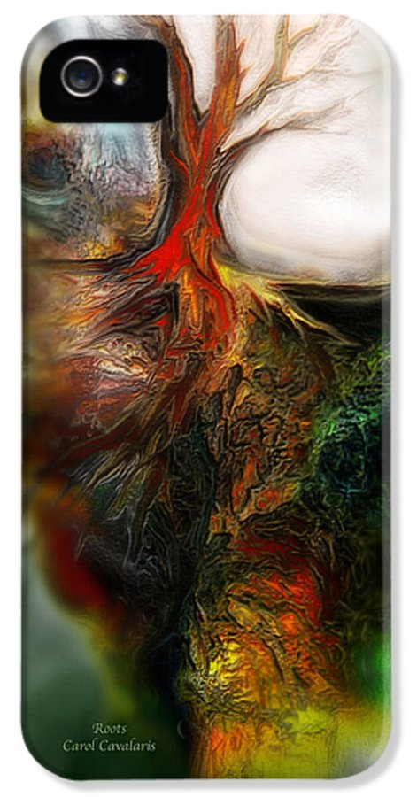 Abstract IPhone 5 / 5s Case featuring the mixed media Roots by Carol Cavalaris