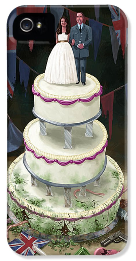 Wedding IPhone 5 / 5s Case featuring the drawing Royal Wedding 2011 Cake by Martin Davey