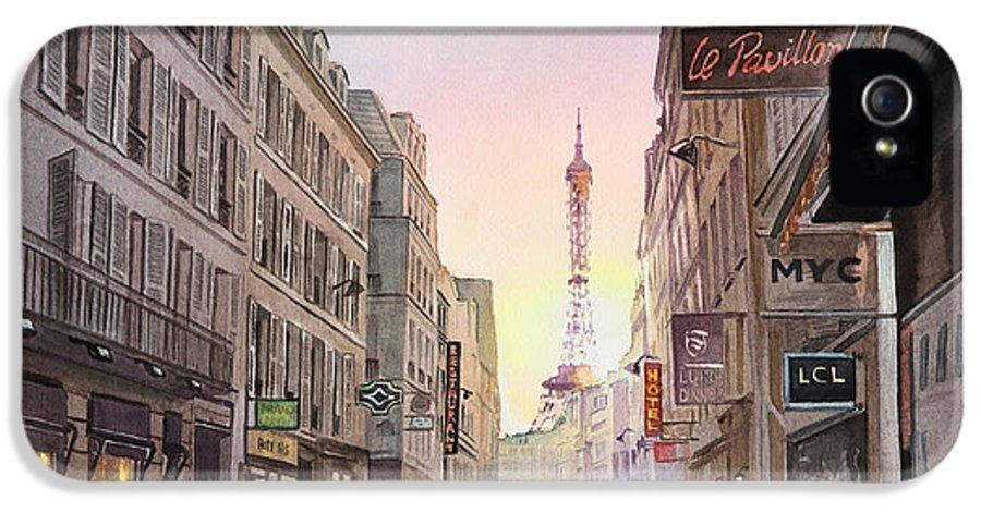 Paris IPhone 5 / 5s Case featuring the painting Rue Saint Dominique Sunset Through Eiffel Tower  by Irina Sztukowski