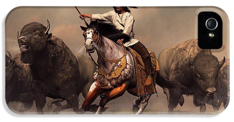 Western IPhone 5 / 5s Case featuring the digital art Running With Buffalo by Daniel Eskridge