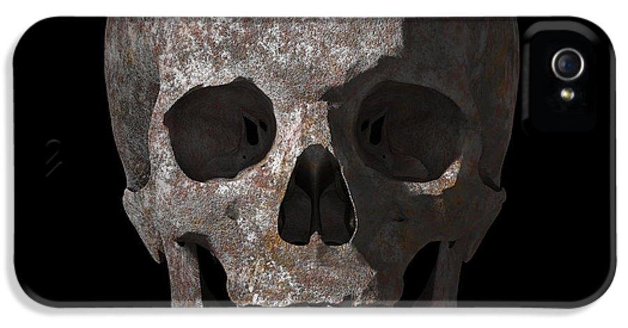Old IPhone 5 / 5s Case featuring the digital art Rusty Old Skull by Vitaliy Gladkiy