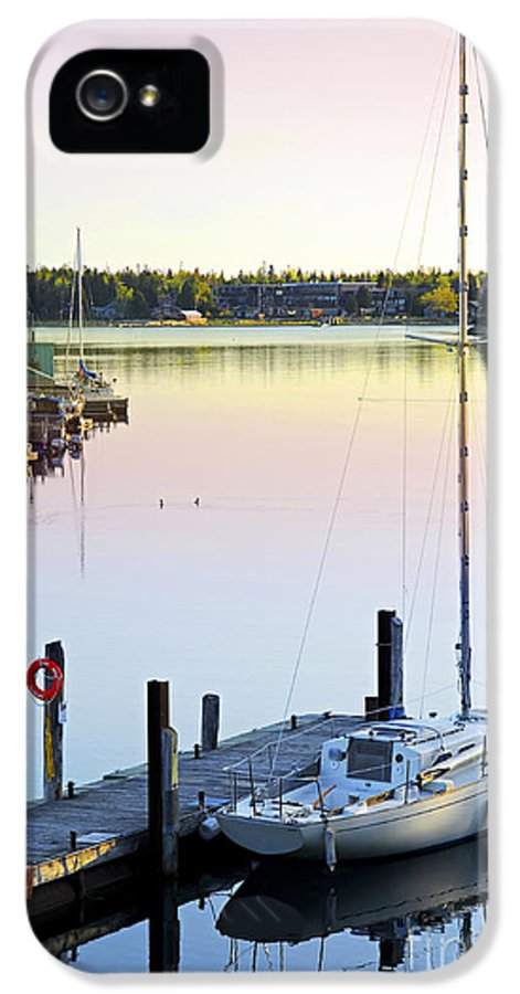 Boat IPhone 5 / 5s Case featuring the photograph Sailboat At Sunrise by Elena Elisseeva