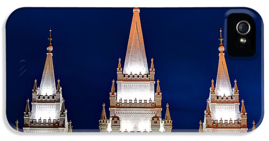 Lds IPhone 5 / 5s Case featuring the photograph Salt Lake Lds Mormon Temple At Night by Gary Whitton