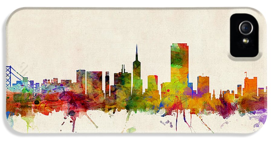 San Francisco IPhone 5 / 5s Case featuring the digital art San Francisco City Skyline by Michael Tompsett