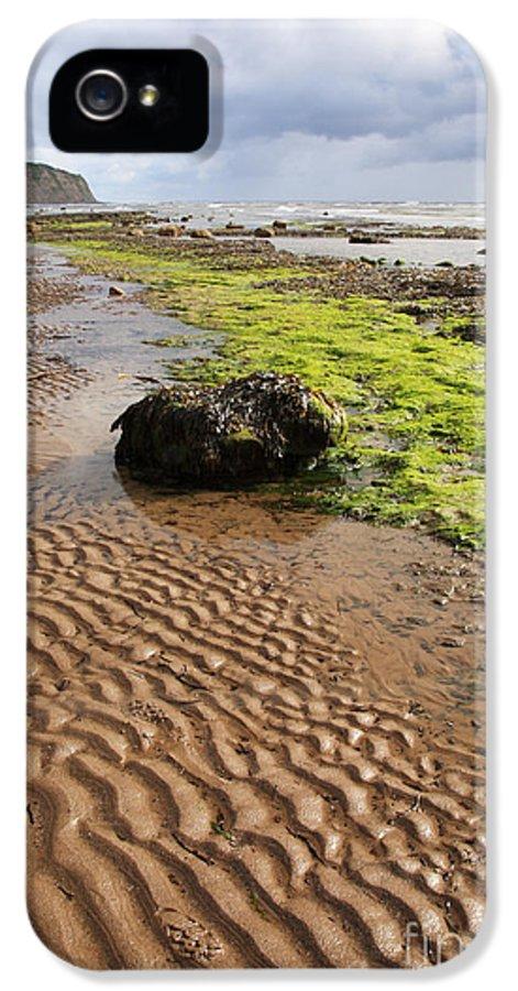 Beach IPhone 5 / 5s Case featuring the photograph Sand Patterns On Robin Hoods Bay Beach by Deborah Benbrook