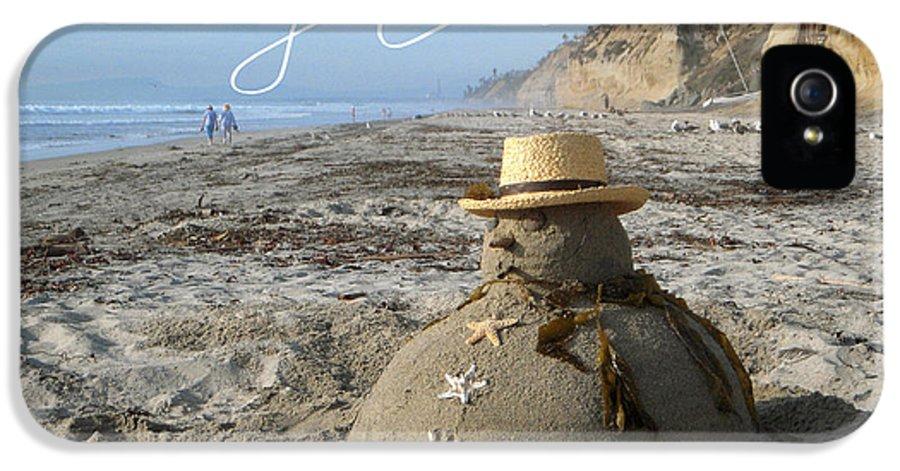 Beach IPhone 5 / 5s Case featuring the sculpture Sandman Snowman by Mary Helmreich