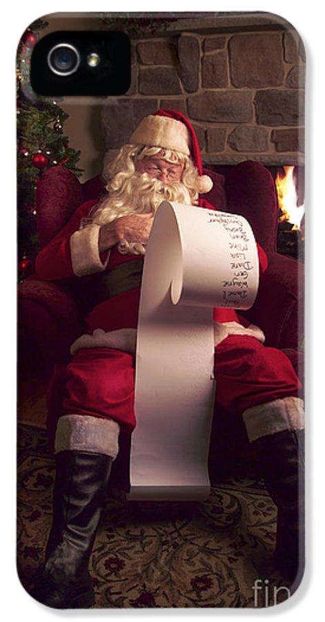 Santa Claus IPhone 5 / 5s Case featuring the photograph Santa Checking His List by Diane Diederich
