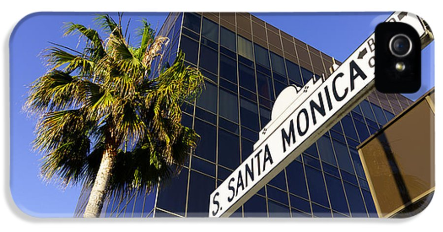 America IPhone 5 / 5s Case featuring the photograph Santa Monica Blvd Sign In Beverly Hills California by Paul Velgos