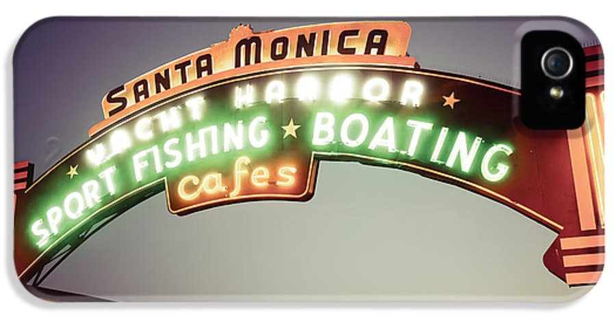 1950s IPhone 5 / 5s Case featuring the photograph Santa Monica Pier Sign Retro Photo by Paul Velgos