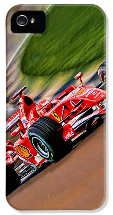 Michael Schumacher IPhone 5 / 5s Case featuring the photograph Schumacher Bend by Blake Richards