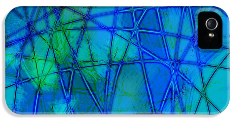 Blue IPhone 5 / 5s Case featuring the digital art Shades Of Blue  by Ann Powell