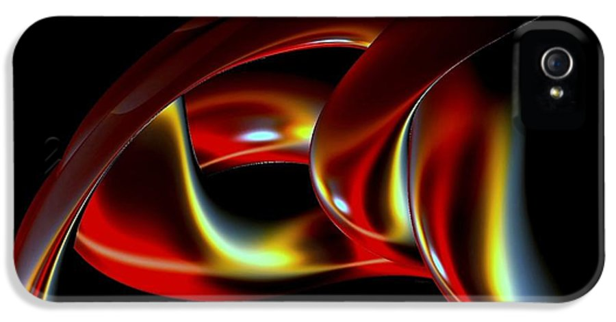 Abstract IPhone 5 / 5s Case featuring the digital art Shades Of Red by Greg Moores