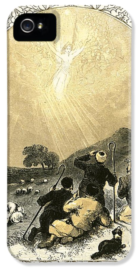 Xmas IPhone 5 / 5s Case featuring the painting Shepherds And Angel by Miles Birkett Foster