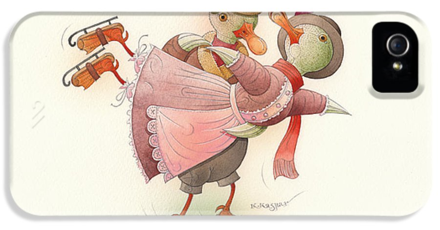 Christmas Winter Greeting Card Duck Dance Ice Snow Holiday IPhone 5 / 5s Case featuring the painting Skating Ducks 2 by Kestutis Kasparavicius